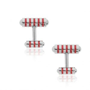 TIFFANY & CO. STERLING SILVER RED ENAMEL PALOMA PICASSO CUFFLINKS