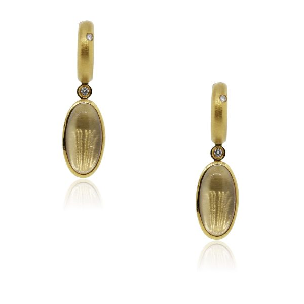 You are viewing these H. Stern 18k Yellow Gold Clear Quartz Diamond Earrings!