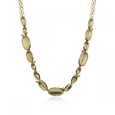 You are viewing this H. Stern 18k Yellow Gold Clear Quartz Diamond Necklace!