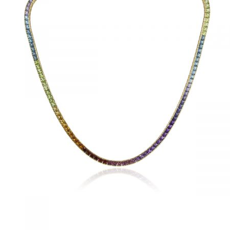 You are viewing this H Stern 18k Yellow Gold Multi Gemstone Rainbow Necklace!