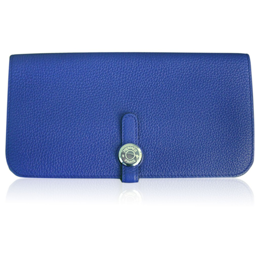 Hermes Bleu Electrique Swift Leather Dogon Wallet