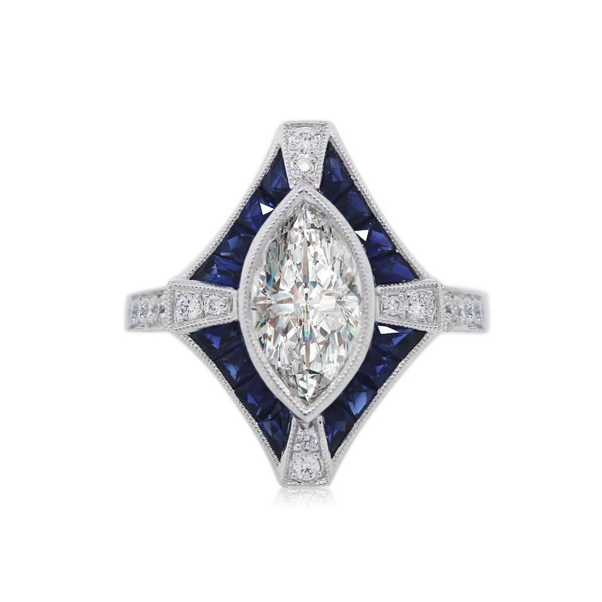 Marquise Diamond and Sapphire Engagement Ring