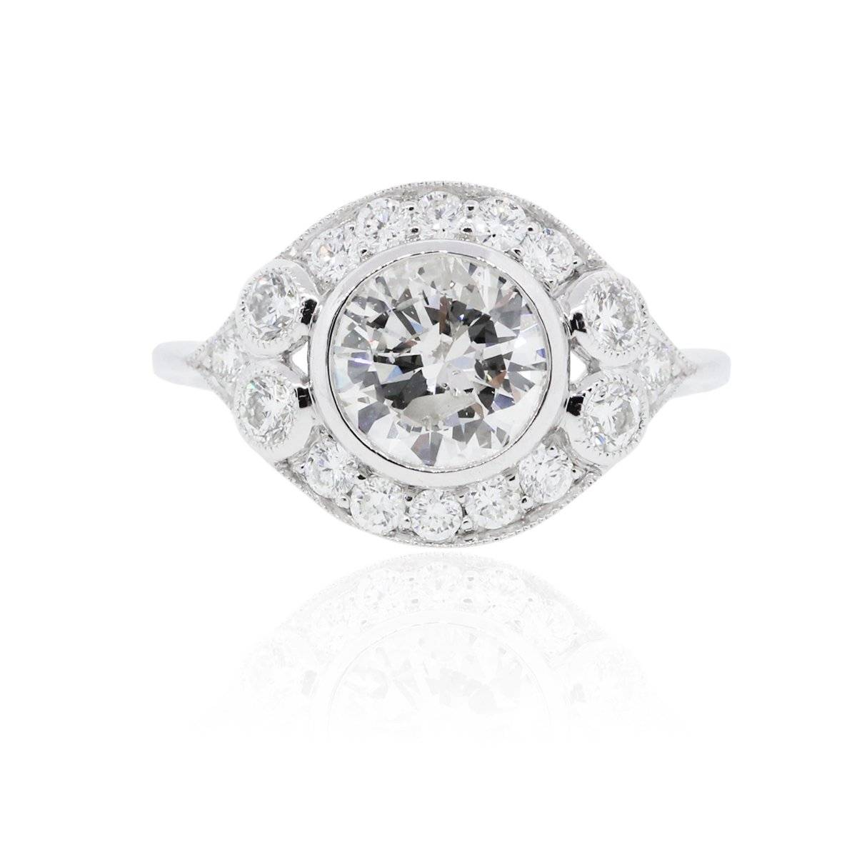 Antique Style Platinum and Diamond Engagement Ring