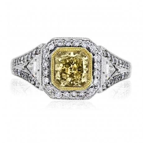 18K TWO TONE SQUARE BRILLIANT FANCY YELLOW EGL CERTIFIED RING