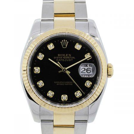You are viewing this Rolex 116233 Datejust Two Tone Black Diamond Dial Watch!