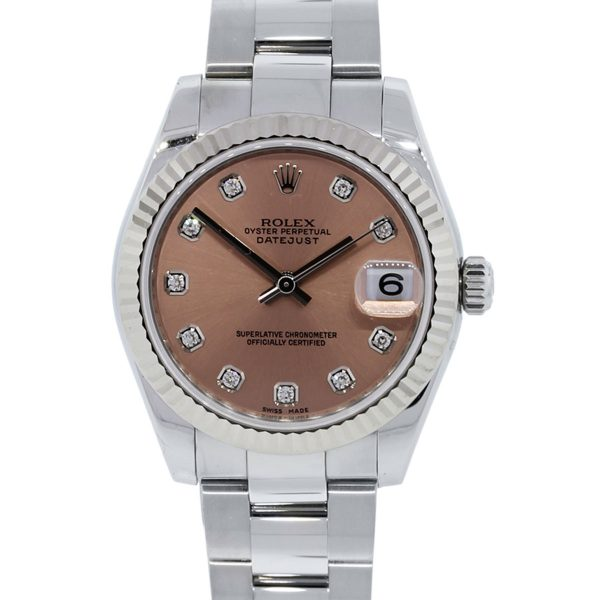 You are viewing this Rolex 178274 Datejust Pink Diamond Dial Steel Watch!
