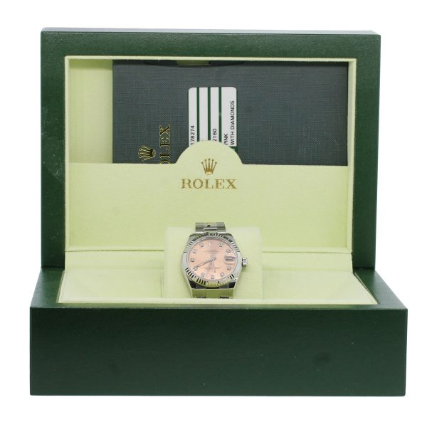 Rolex 178274 Datejust Pink Diamond Dial Steel Watch box and papers