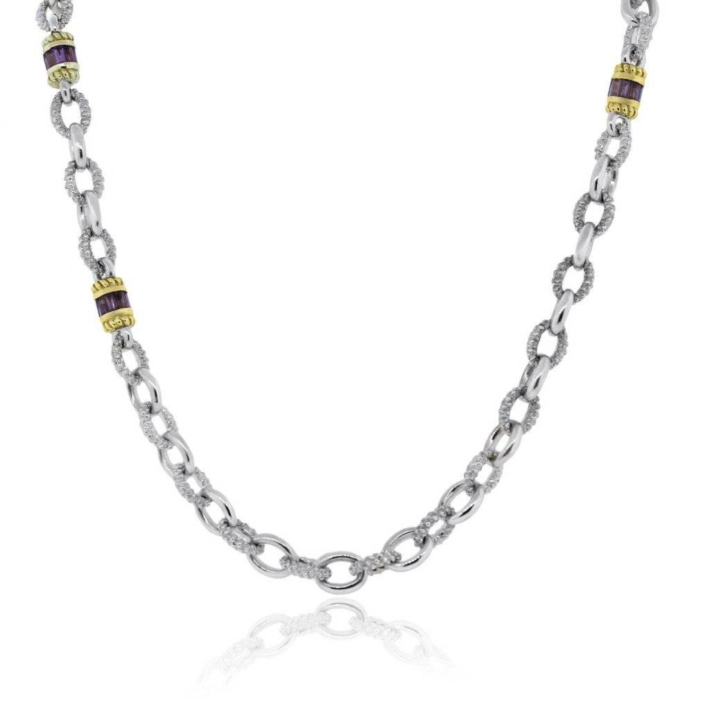 JUDITH RIPKA STERLING SILVER AND 18K YELLOW GOLD AMETHYST NECKLACE