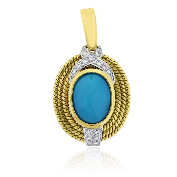 You are viewing this 18k Yellow Gold Turquoise .34ctw Diamond Slide Pendant!