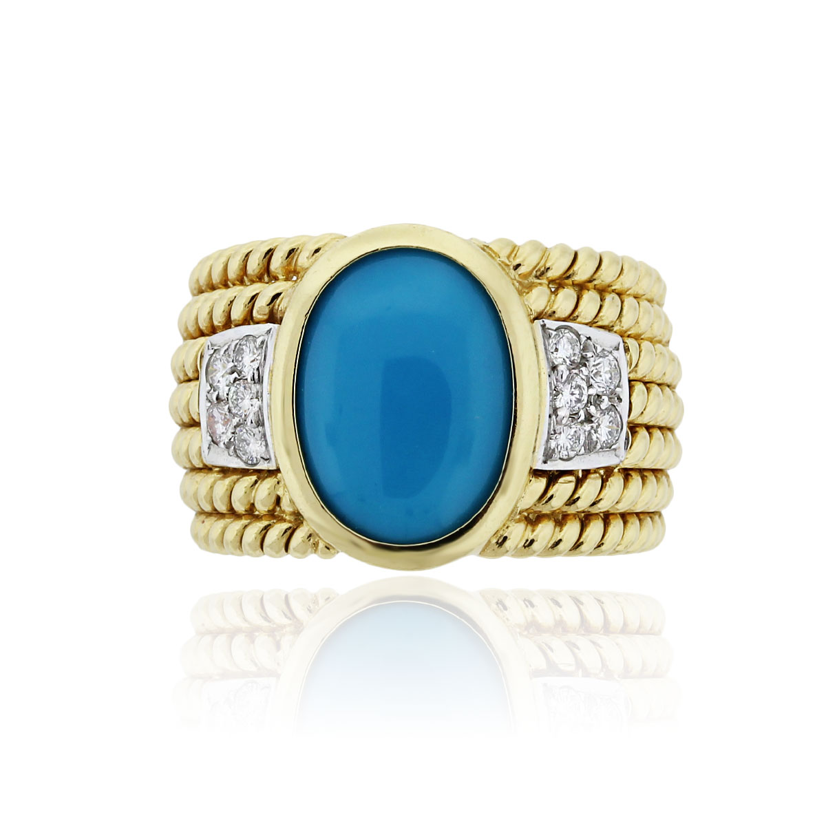 You are viewing this 18k Yellow Gold Turquoise .30ctw Diamond Cocktail Ring!