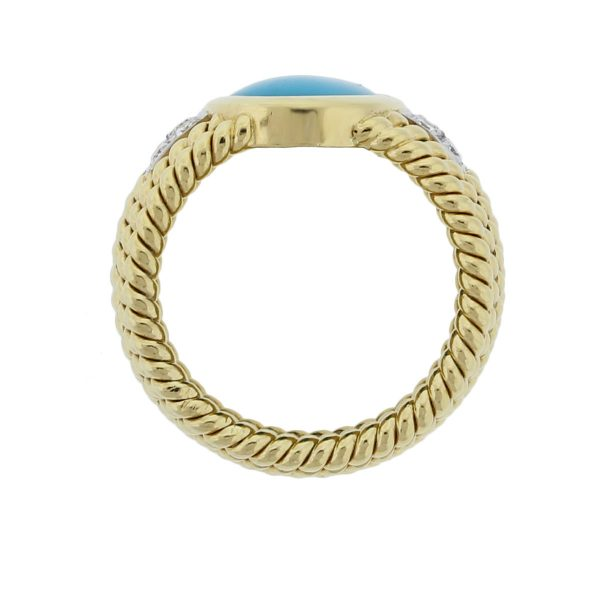 Yellow Gold Turquoise .30ctw Diamond Cocktail Ring