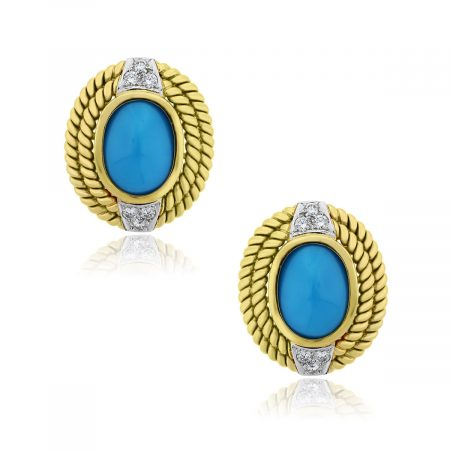 You are viewing these 18k Yellow Gold Turquoise .60ctw Diamond Earrings!