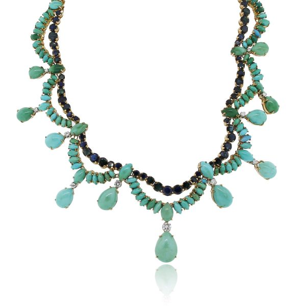 You are viewing this 14k Yellow Gold 1.3ctw Diamond Sapphire Turquoise Necklace!