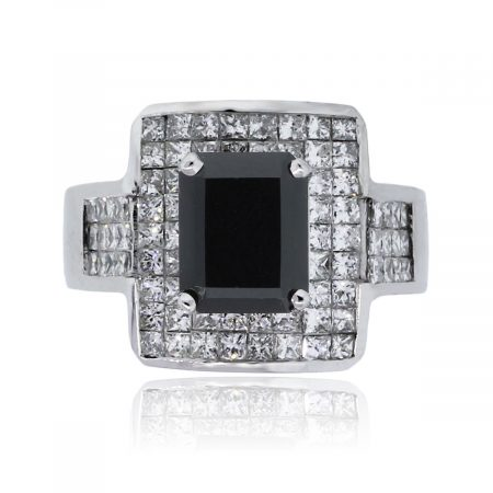 You are viewing this 18k White Gold Onyx Princess Cut Diamond Ring!