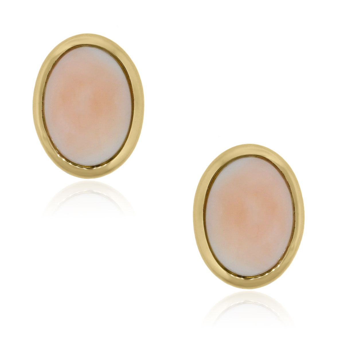 You are viewing these 14k Yellow Gold Oval Coral Omega Back Earrings!