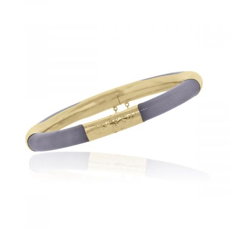 You are viewing this 14k Yellow Gold 7mm Lavender Jade Bangle Bracelet!