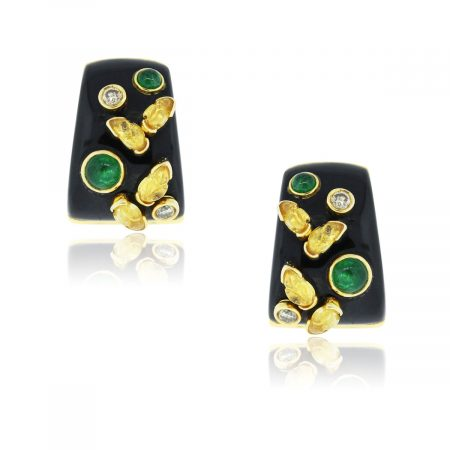 You are viewing these 18k Yellow Gold Black Yellow Enamel Emerald Earrings!