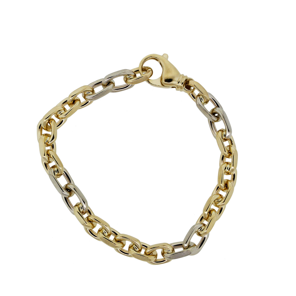 14k Two Tone Gold Chain Link Bracelet