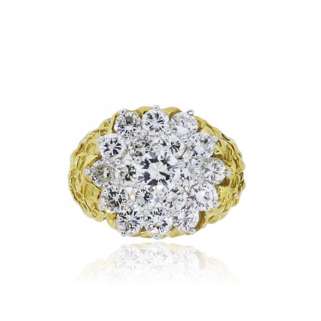 You are viewing this 18k Yellow Gold 3.3ctw Diamond Cluster Ring!