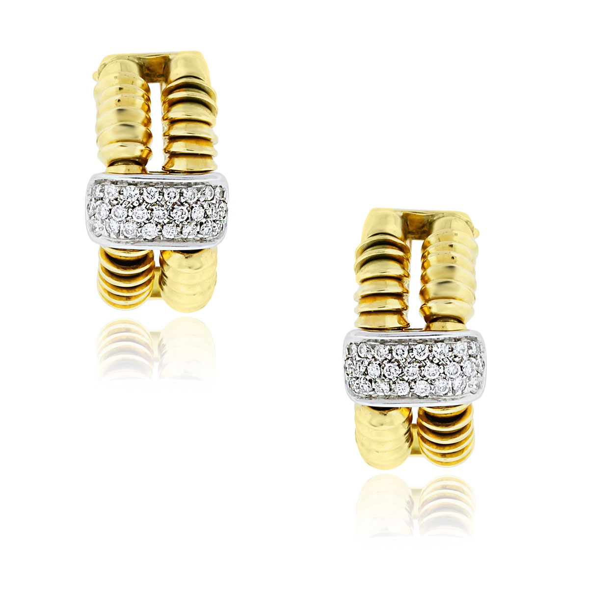 You are viewing these 18k Yellow Gold .80ctw Diamond Omega Back Earrings!