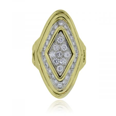 You are viewing this 18k Yellow Gold 1.5ctw Elongated Diamond Cluster Ring!