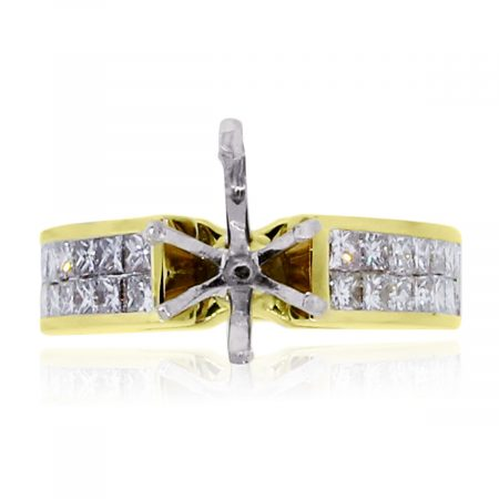 You are viewing this 18K Yellow Gold Princess Cut Two Row Semi Mounting!
