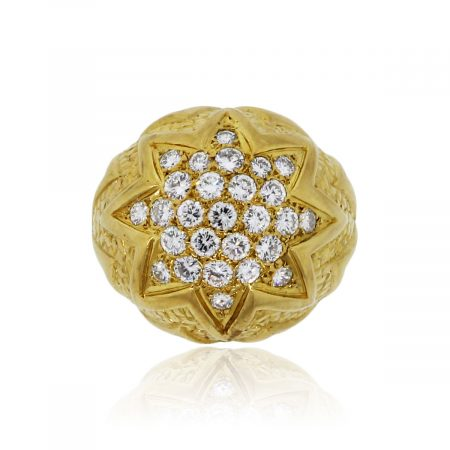 You are viewing this 18k Yellow Gold 1.20ctw Diamond Cluster Ring!