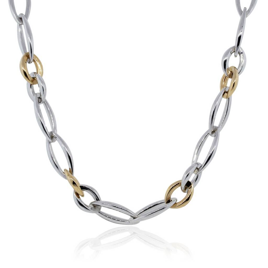 White Gold Chain Bracelet: Chimento 18k White And Rose Gold Link Chain Necklace