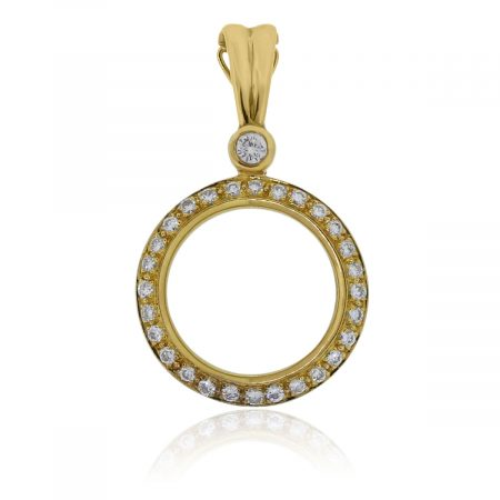 You are viewing this 18k Yellow Gold .90ctw Diamond Circle Slide Pendant!