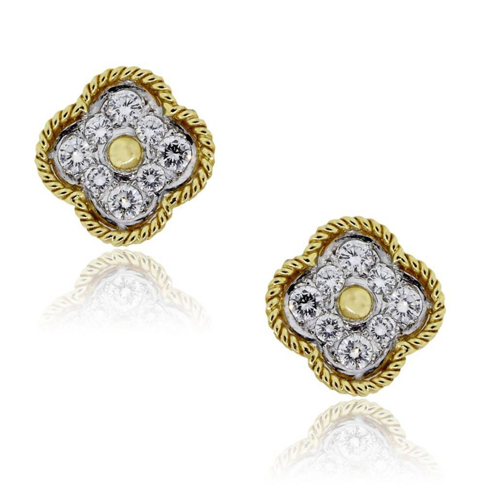Gold and diamond clover earrings