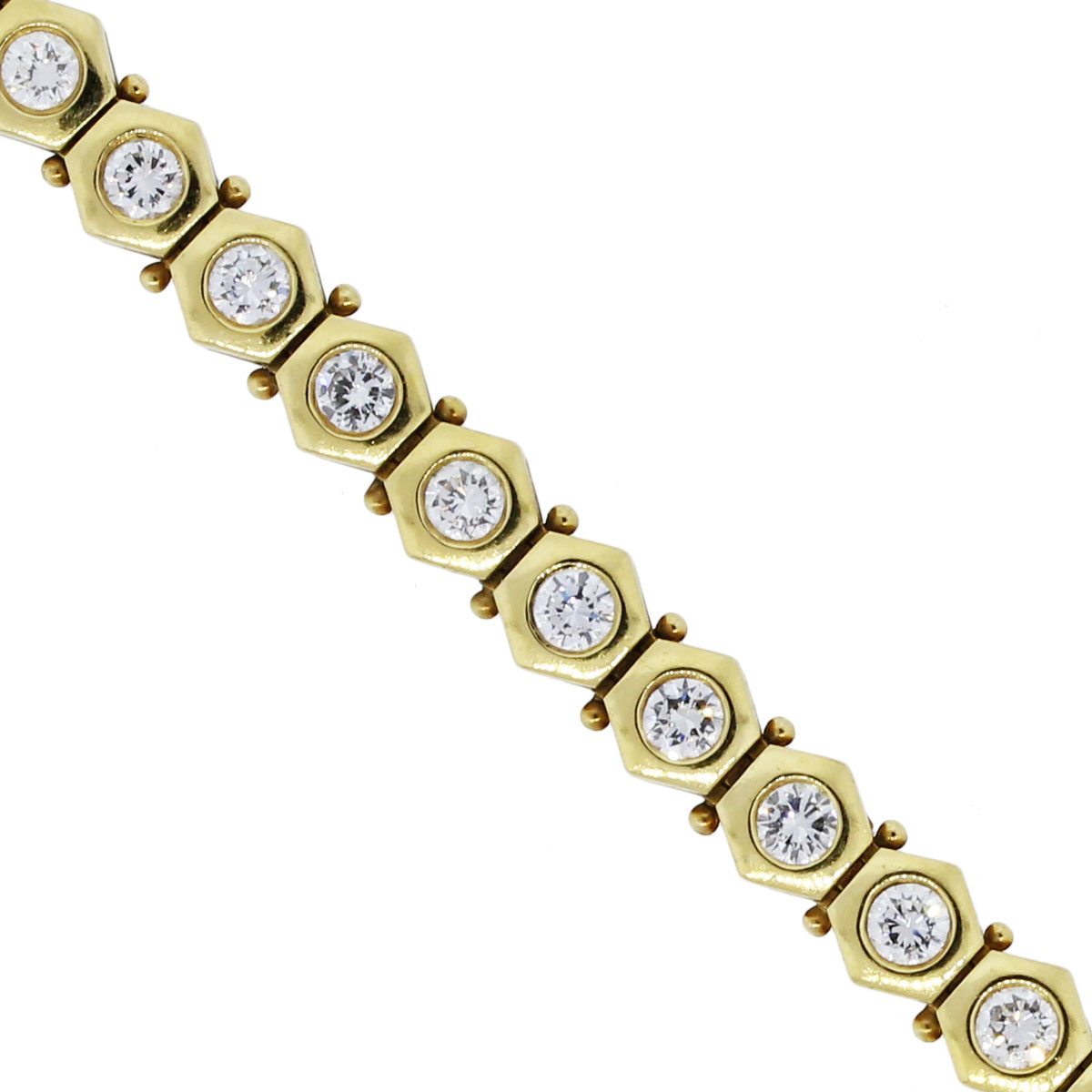 You are viewing this 18k Yellow Gold 3.36ctw Diamond Tennis Bracelet!