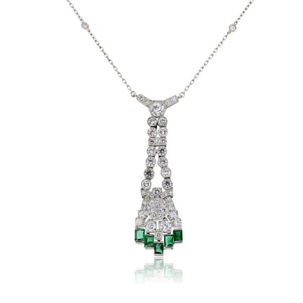 You are viewing this Platinum 2.6ctw Diamond & 1.25ctw Emerald Necklace!