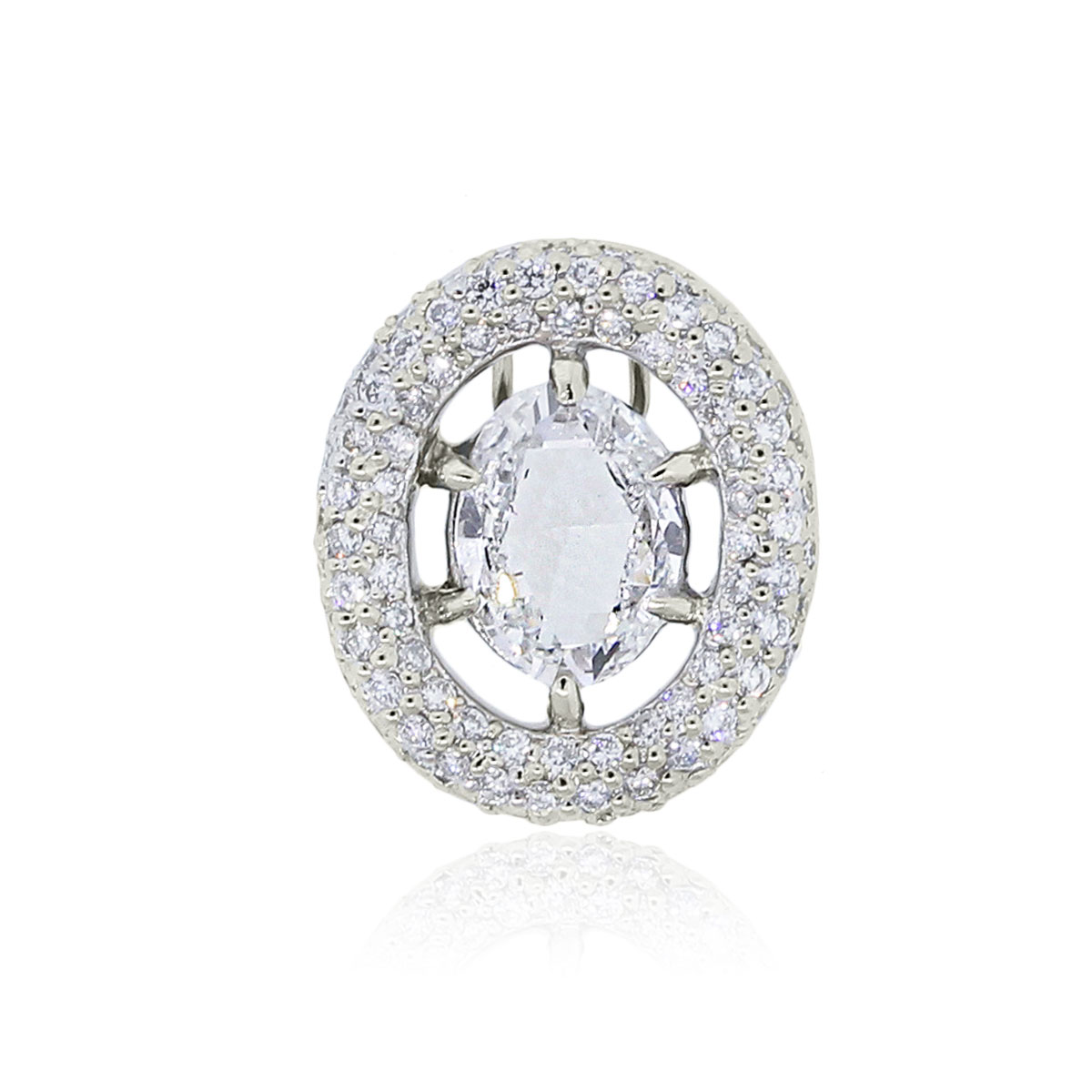 You are viewing this 18k White Gold 1.70CT Oval Diamond Slide Pendant!