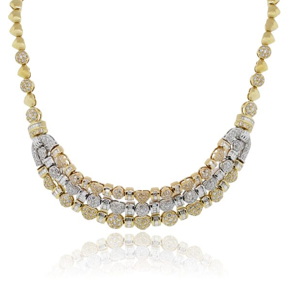 You are viewing this 18k Tri Color Gold 6.5ctw Diamond Necklace!