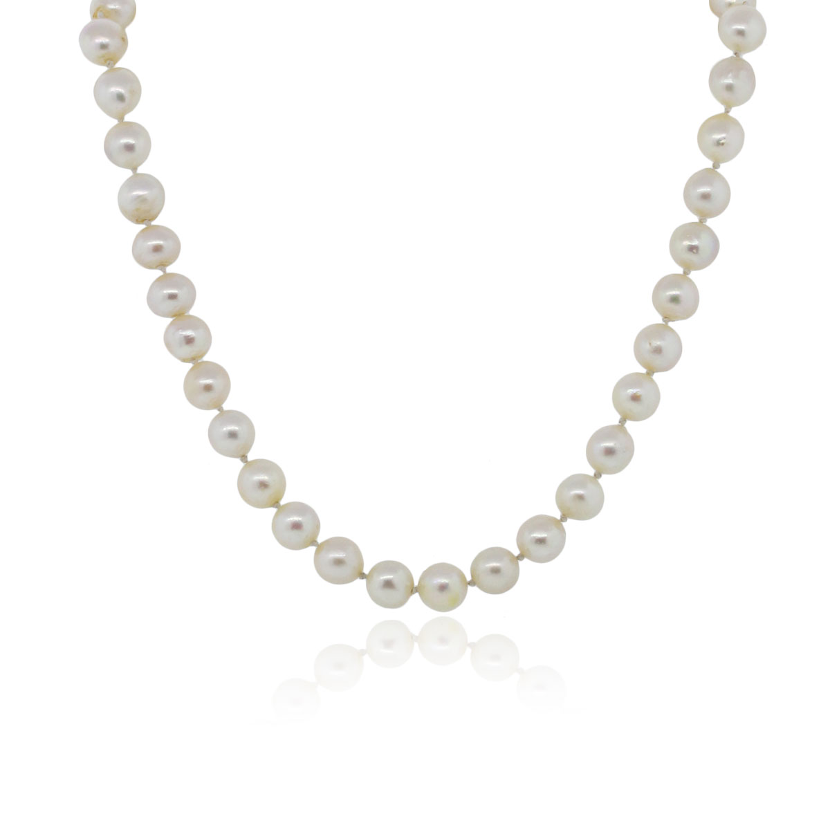 You are viewing this 14k Yellow Gold 9mm Cultured Pearl Emerald Necklace!