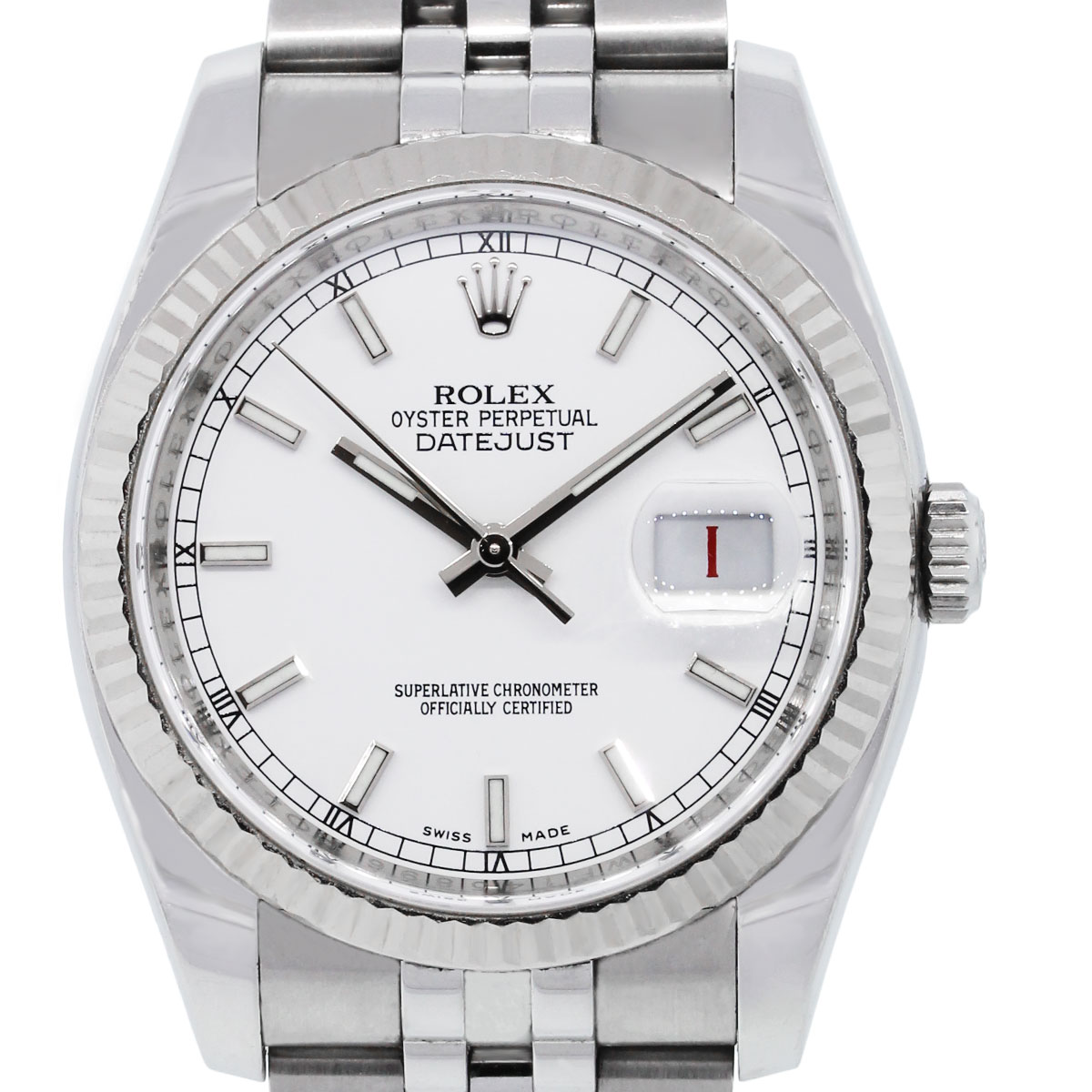 Rolex 16234 datejust white dial stainless steel watch for Stainless steel watch