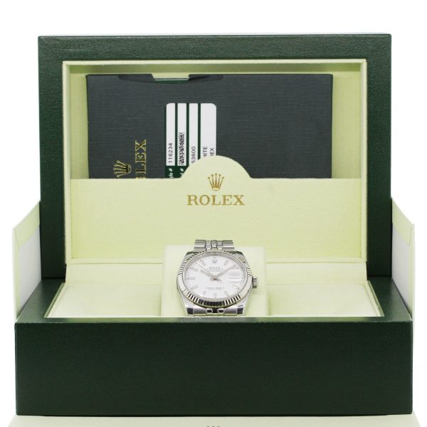 Rolex 16234 Datejust White Dial Stainless Steel Watch box and papers