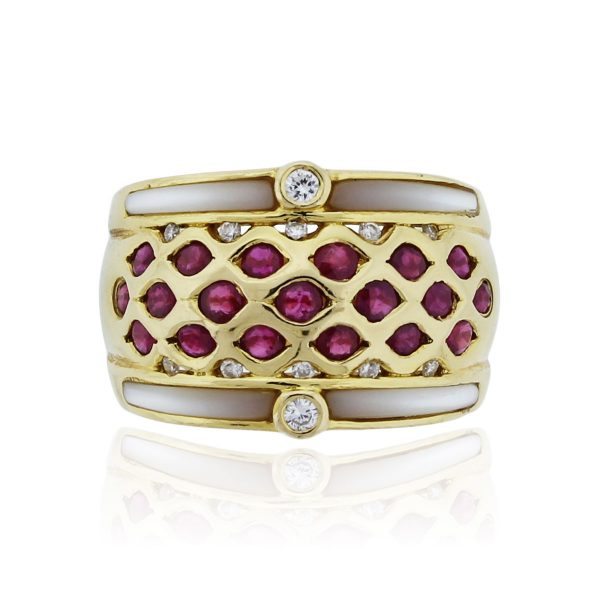 You are viewing this 18k Yellow Gold 0.90ct Ruby Enamel .15ct Diamond Ring!