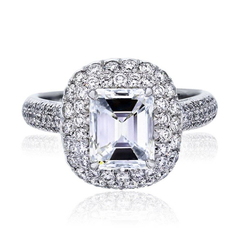 Platinum 1.79ct Emerald Cut Diamond GIA certified Engagement Ring