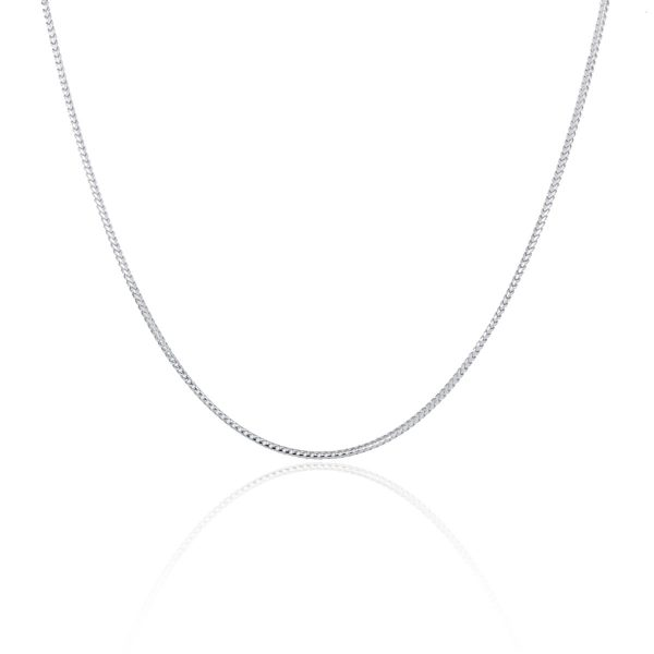 """You are viewing this 14K White Gold 16"""" Franco Chain Necklace!"""