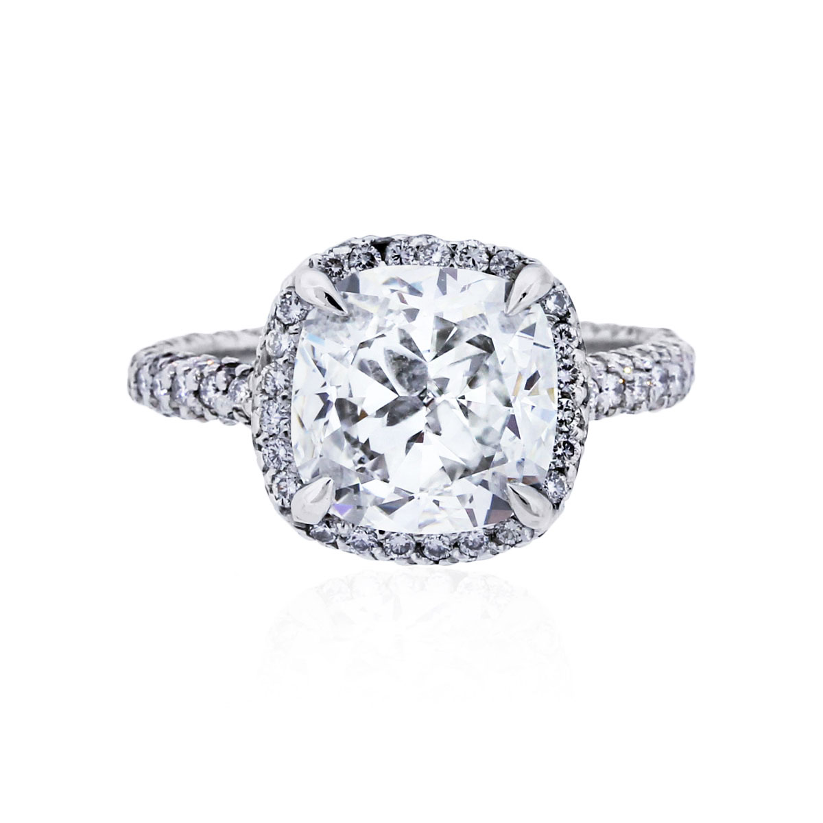 You are viewing this Platinum 3.02ct Cushion Cut Diamond Engagement Ring!