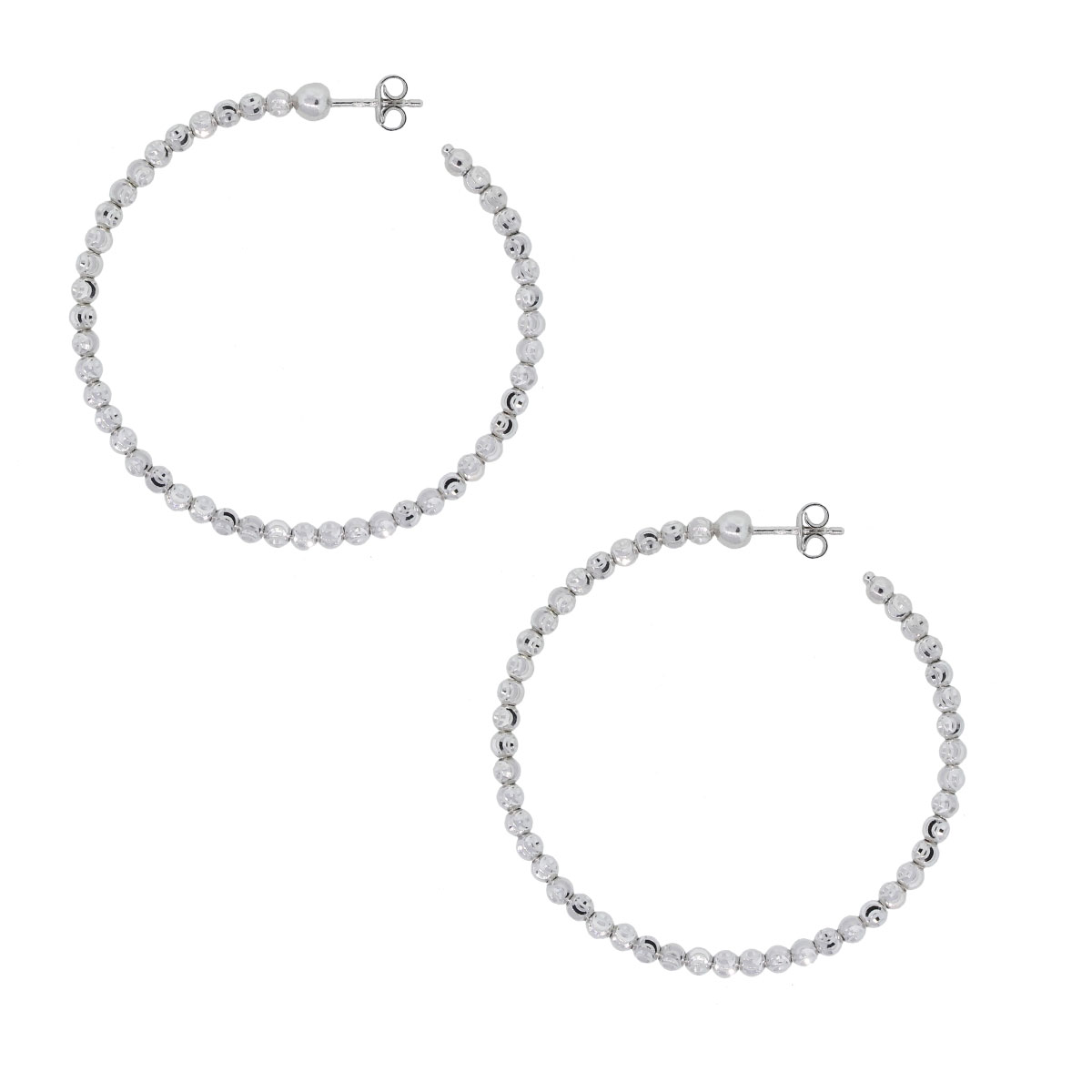 Officina Bernardi SS & Platinum Rodium Hoop Earrings