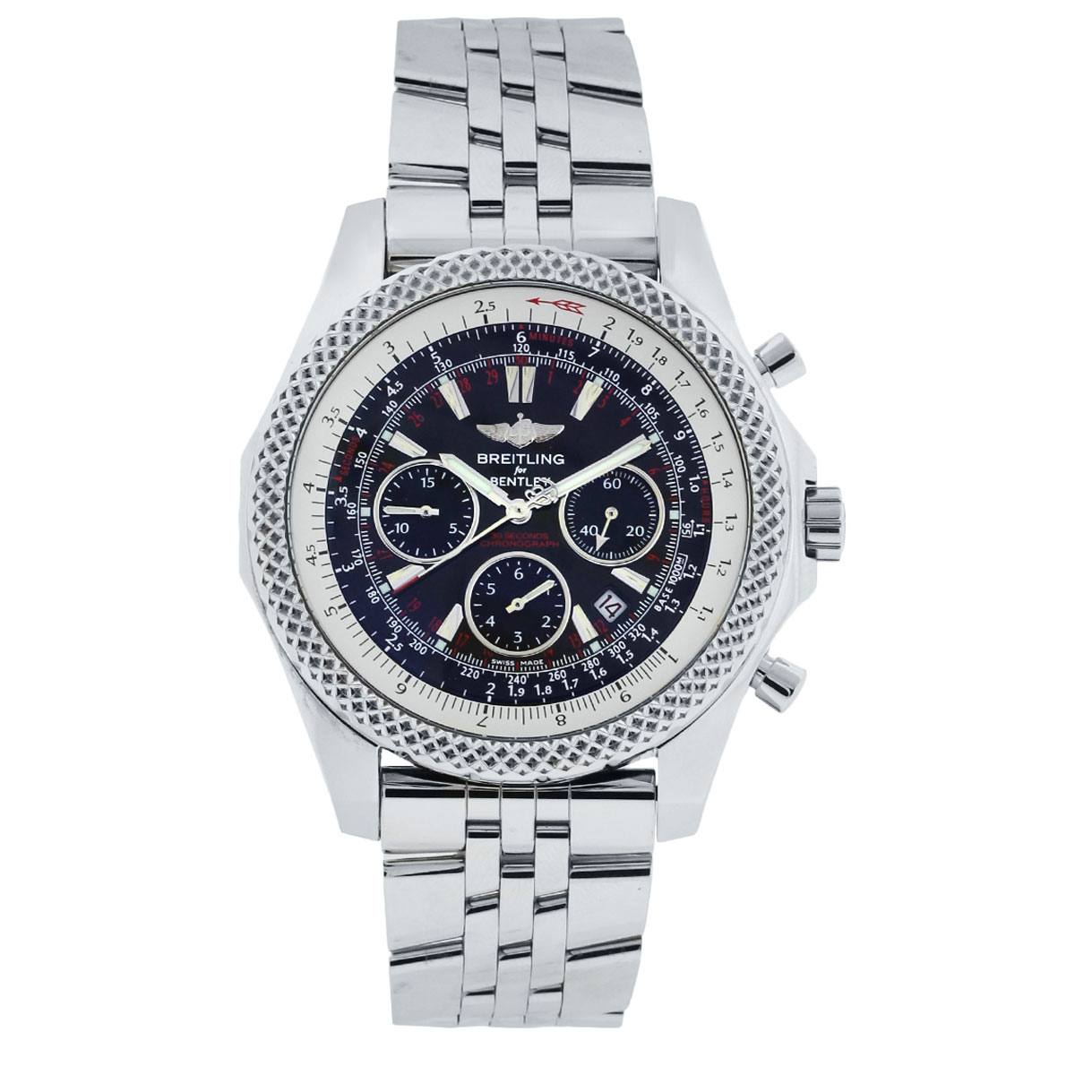 Breitling For Bentley A25364 Stainless Steel Black Dial Watch