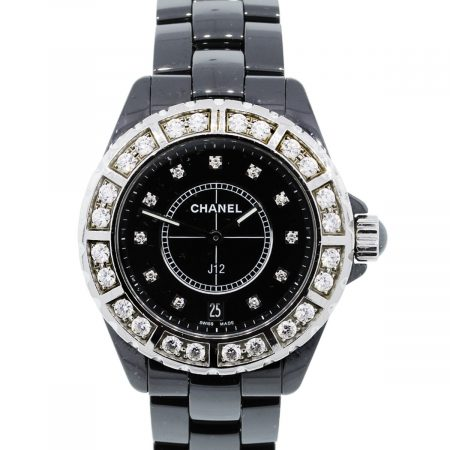 You are viewing this Chanel J12 Diamond Bezel Black Ceramic Ladies Watch!