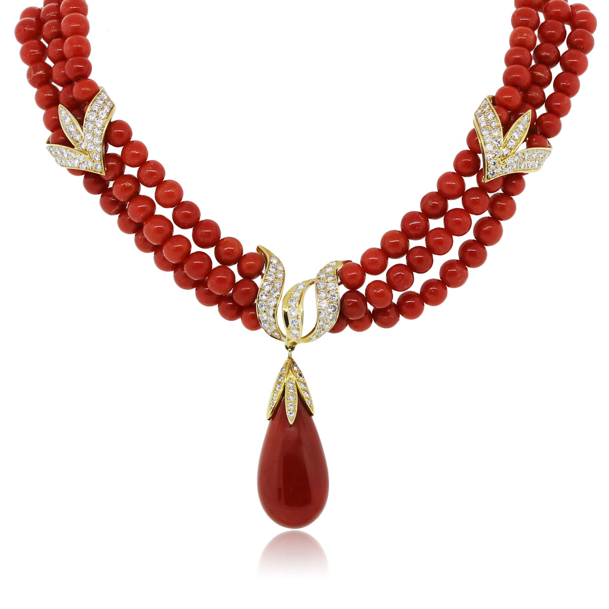 Vintage Coral and Diamond Necklace