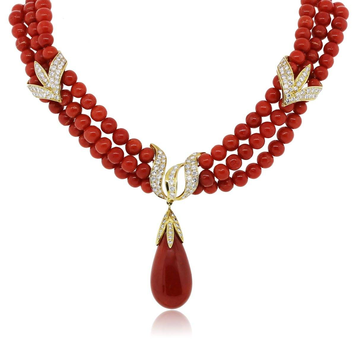 18k yellow gold diamond triple strand coral necklace