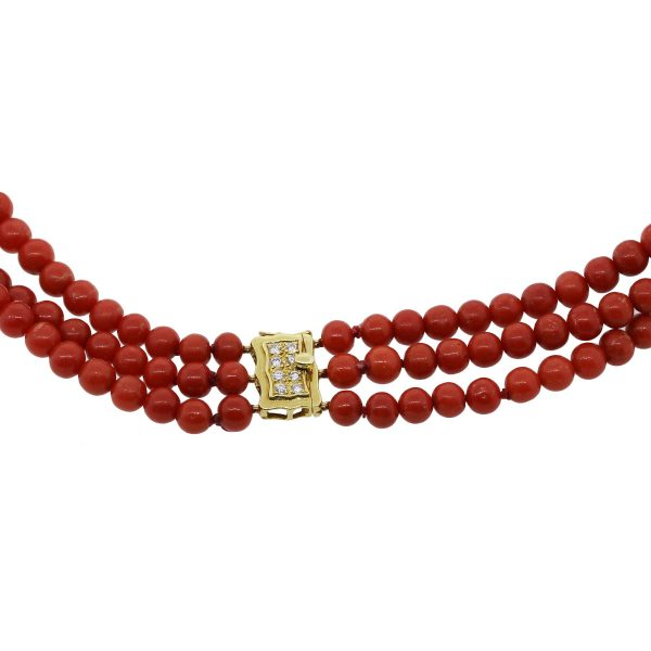 18k Yellow Gold Diamond Strand Coral Necklace