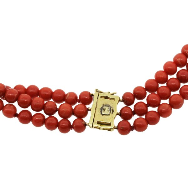 18k Yellow Gold Diamond Coral Necklace