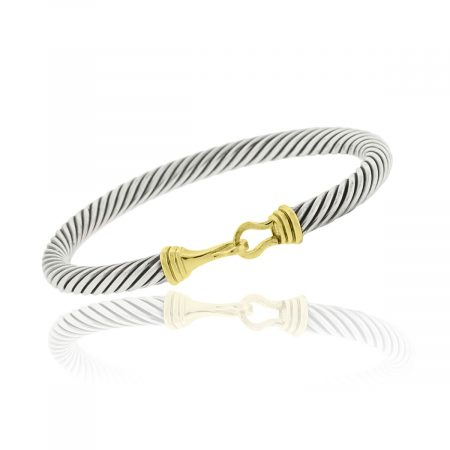 You are viewing this David Yurman SS 14k Yellow Gold Thoroughbred Bangle!