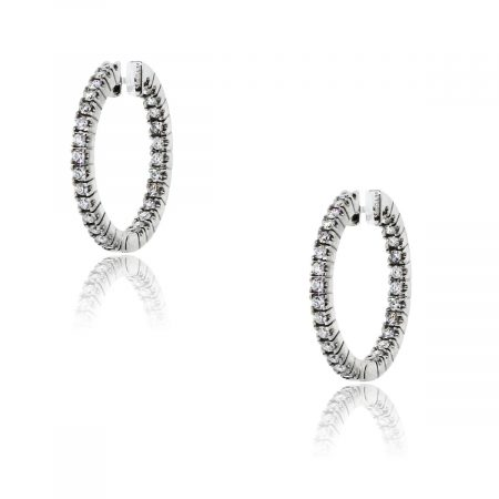 You are viewing these 18k White Gold Inside Out 1ctw Diamond Hoop Earrings!